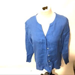 Talbots blue linen shirt size 12p